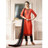 Craftsvilla Orange Color Cotton Embroidered Unstitched Straight Suit
