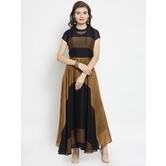 Craftsvilla Brown Georgette Printed Designer Flared Gown