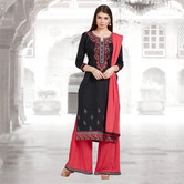 Craftsvilla Black And Pink Color Cotton Embroidered Unstitched Straight Suit