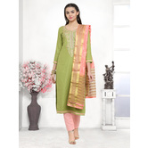 Craftsvilla Green Color Cotton Blend Embroidered Unstitched Straight Suit