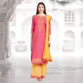 Craftsvilla Pink And Orange Color Cotton Embroidered Unstitched Straight Suit