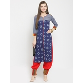Craftsvilla Blue  Cotton Blend Printed Straight Kurta With Pants Set