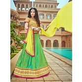 Craftsvilla Chiffon Green Raw Silk Embroiderd Lehenga Choli
