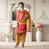 Craftsvilla Pink And Orange Color Cotton Embroidered Unstitched Straight Patiala Suit