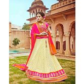 Craftsvilla Chiffon Cream Raw Silk Embroiderd Lehenga Choli