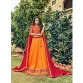 Craftsvilla Chiffon Orange Raw Silk Embroiderd Lehenga Choli