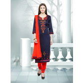 Craftsvilla Navy Color Cotton Embroidered Unstitched Straight Suit