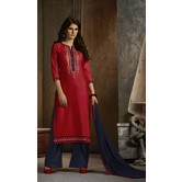 Craftsvilla Red And Dark Blue Cotton Party Wear Dress Material