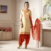 Craftsvilla Beige And Orange Color Cotton Embroidered Unstitched Straight Patiala Suit