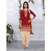 Craftsvilla Maroon Color Cotton Embroidered Unstitched Straight Patiala Suit