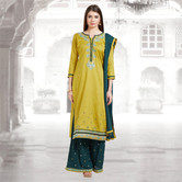 Craftsvilla Mustard And Teal Green Color Cotton Embroidered Unstitched Straight Suit