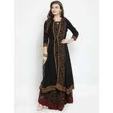 Craftsvilla Black Georgette Printed Designer Flared Gown