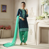 Craftsvilla Green Color Cotton Embroidered Unstitched Straight Patiala Suit