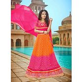 Craftsvilla Chiffon Pink And Orange Raw Silk Embroiderd Lehenga Choli