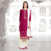 Craftsvilla Pink And White Color Cotton Embroidered Unstitched Straight Suit