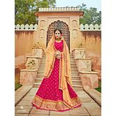 Craftsvilla Chiffon Pink  Raw Silk Embroiderd Lehenga Choli