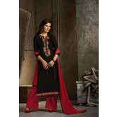 Craftsvilla Black And Red Cotton Party Wear Dress Material
