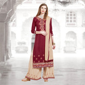 Craftsvilla Maroon And Beige Color Cotton Embroidered Unstitched Straight Suit