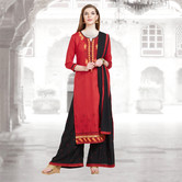 Craftsvilla Red And Black Color Cotton Embroidered Unstitched Straight Suit