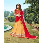 Craftsvilla Chiffon Beige Raw Silk Embroiderd Lehenga Choli