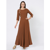 Craftsvilla Brown Viscose Embroidered Full Length Contemporary Gown