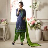 Craftsvilla Blue And Green Color Cotton Embroidered Unstitched Straight Patiala Suit