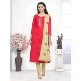 Craftsvilla Red Color Cotton Blend Embroidered Unstitched Straight Suit