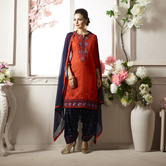 Craftsvilla Red And Navy Color Cotton Embroidered Unstitched Straight Patiala Suit