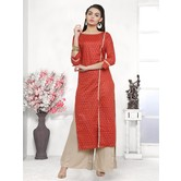 Craftsvilla Red Color Cotton Blend Printed Unstitched Straight Suit
