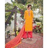 Craftsvilla Orange And Pink Cotton Jacquard Embroidered Un-stitched  Dress Material