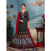 Craftsvilla Black Color Silk Embroidered Semi-stitched Dress Material