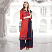 Craftsvilla Red And Navy Color Cotton Embroidered Unstitched Straight Suit