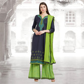 Craftsvilla Blue And Green Color Cotton Embroidered Unstitched Straight Suit