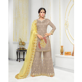 Craftsvilla Beige & Yellow Mashlin Silk Embroidered Women\'s Sharara  Suit