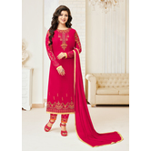 Craftsvilla Pink Georgette Embroidered Unstitched Salwar Suit