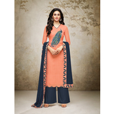 Craftsvilla Peach Mashlin Silk Digital Printed Semi-stitched Salwar Suit