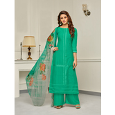 Craftsvilla Turquoise Color Cotton Embroidered Unstitched Palazzo Suit