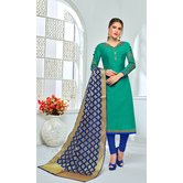 Craftsvilla Teal Green Color Chanderi Cotton Embroidered Unstitched Straight Suit With Banarasi Dupatta