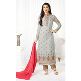 Craftsvilla Grey Color Georgette Embroidered Semi-stitched Straight Suit