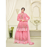 Craftsvilla Pink Printed Georgette Semi-stitched Pakistani Suit