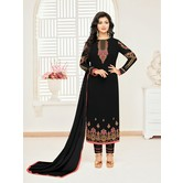 Craftsvilla Black Georgette Embroidered Unstitched Salwar Suit