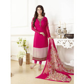 Craftsvilla Pink Color Crepe Printed And Embroidered 3/4th Sleeves Unstitched Salwar Suit