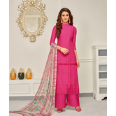 Craftsvilla Pink Color Cotton Embroidered Unstitched Palazzo Suit