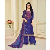 Craftsvilla Blue Uppada Silk Blend Embroidered Unstitched Salwar Suit