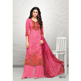 Craftsvilla Pink Cotton Aari Embroidered Unstitched Salwar Suit With Palazzo