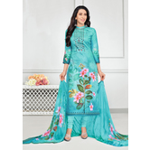 Craftsvilla Sky Blue Glaze Cotton Printed & Aari Work Women\'s Salwar Suit