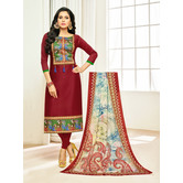 Craftsvilla Maroon Color Cotton Printed Unstitched Traditional Straight Suit