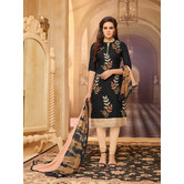 Craftsvilla Black Color Cotton Blend Embroidered Unstitched Salwar Suit