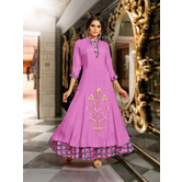 Craftsvilla Purple Mashlin Silk Resham Embroidery Designer Gown