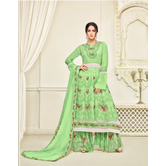 Craftsvilla Green Printed Georgette Semi-stitched Pakistani Suit